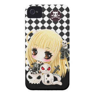 Cute chibi girl and kawaii skulls iPhone 4 Case-Mate case