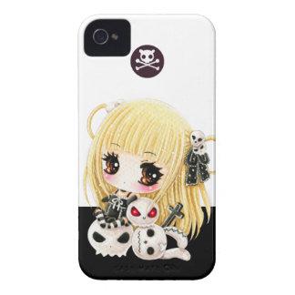 Cute chibi girl and kawaii skulls iPhone 4 Case-Mate case