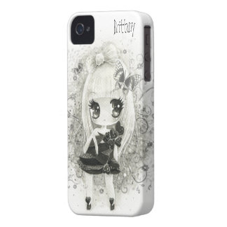 Cute chibi girl in black and white - Iphone case