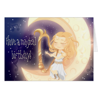 Cute Chibi girl playing harp on the moon birthday Card