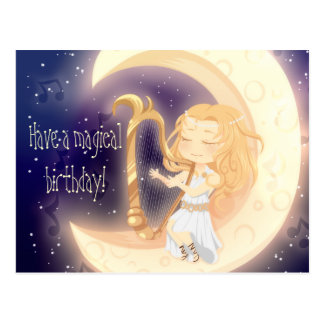 Cute Chibi girl playing harp on the moon birthday Postcard