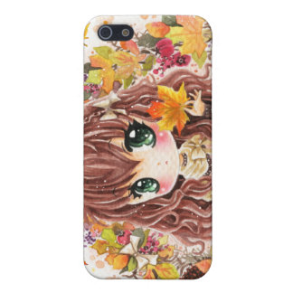 Cute chibi girl with autumn leaves and fruits iPhone 5 cover