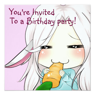 Cute chibi girl with bunny ears invitations