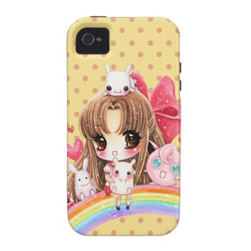 Cute chibi girl with cute bunny sitting on rainbow iPhone 4 cover