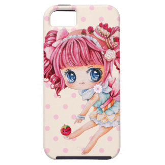 Cute chibi girl with pink hair and strawberry case for the iPhone 5