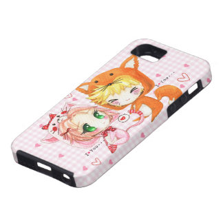 Cute chibis couple in fox and cat hoodies iPhone 5 cover