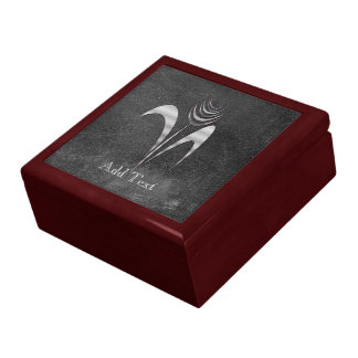 Cute Chic Add Text Silver Grey Flower Gift Box