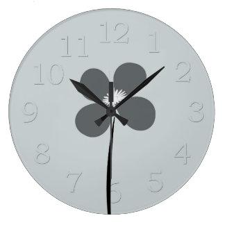 Cute Chic Blue Grey Flower Floral  Wall  Clock