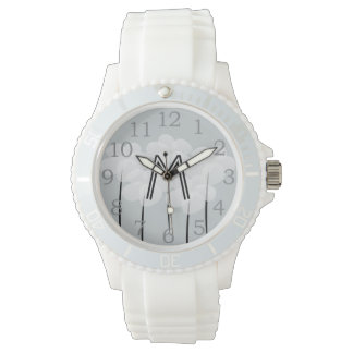 Cute Chic Floral Anemones Monogrammed Watch