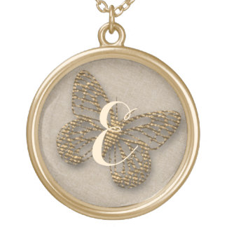 Cute  Chic Gold Butterfly  Monogram Necklace