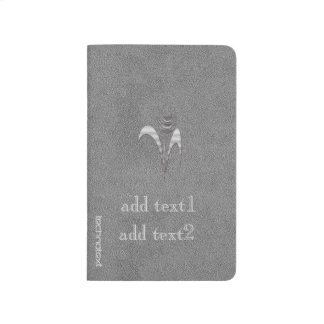 Cute Chic Ink Art Add Text Monogram Silver Grey Journal
