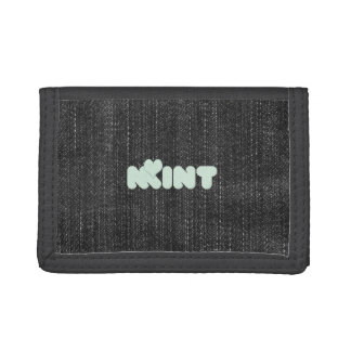 Cute Chic Mint Love Typography Denim Wallet