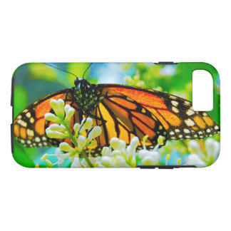 Cute, chic orange monarch butterfly close-up photo iPhone 8/7 case