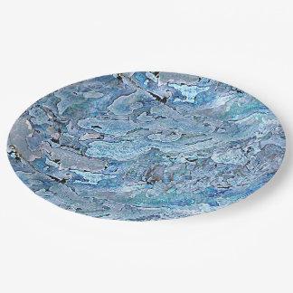 Cute Chic Purple Blue Faux Sea Shell Pattern Paper Plate