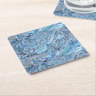 Cute Chic Purple Blue Faux Sea Shell Pattern Square Paper Coaster