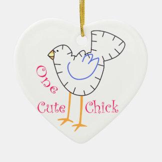 Cute Chick Applique Ceramic Ornament