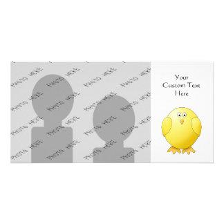 Cute Chick. Little Yellow Bird. Photo Card Template