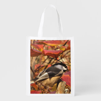 Cute Chickadee Bird in Pink Autumn Leaves Reusable Grocery Bag