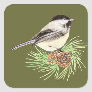 Cute Chickadee Bird, Nature, Wildlife, Animal Square Sticker