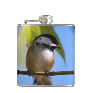 Cute Chickadee on A Branch Photograph Hip Flask