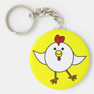 Cute Chicken Dance - White and Yellow Basic Round Button Key Ring