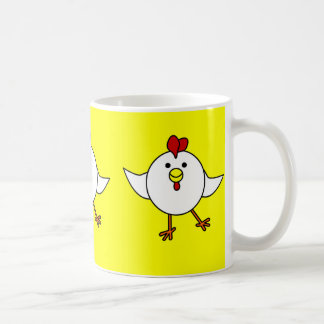 Cute Chicken Dance - White and Yellow Basic White Mug