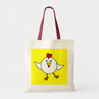 Cute Chicken Dance - White and Yellow Canvas Bags