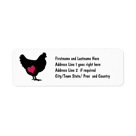 Cute Chicken with Pink Heart Return Address Label