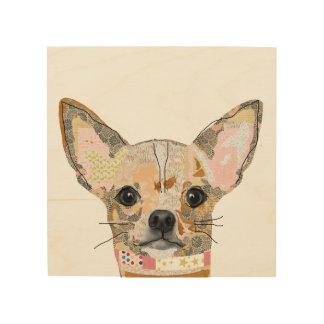 Cute Chihuahua collage on wood Wood Print