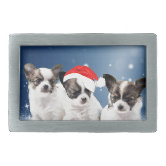 Cute Chihuahua Puppies with Santa Hat Christmas Belt Buckle