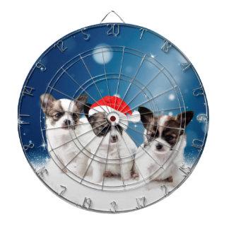 Cute Chihuahua Puppies with Santa Hat Christmas Dartboard