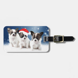 Cute Chihuahua Puppies with Santa Hat Christmas Luggage Tag