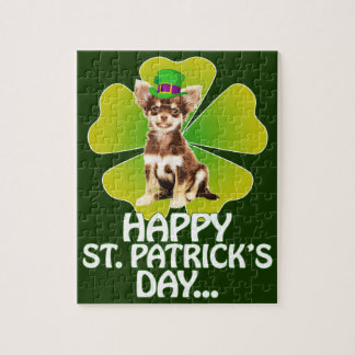 Cute Chihuahua Puppy Hat St. Patrick Day Jigsaw Puzzle