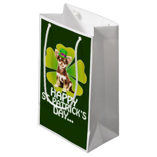 Cute Chihuahua Puppy Hat St. Patrick Day Small Gift Bag