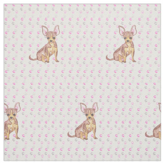 Cute Chihuahua Puppy in Watercolor and Paw Prints Fabric
