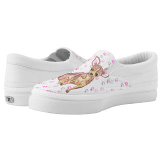 Cute Chihuahua Puppy in Watercolor and Paw Prints Printed Shoes