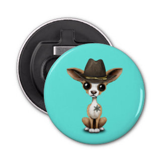 Cute Chihuahua Puppy Sheriff Bottle Opener