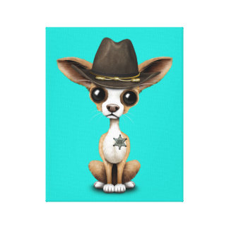 Cute Chihuahua Puppy Sheriff Canvas Print