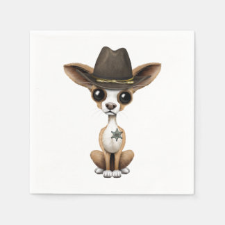 Cute Chihuahua Puppy Sheriff Disposable Serviettes