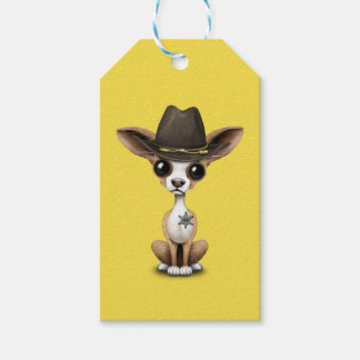 Cute Chihuahua Puppy Sheriff Gift Tags