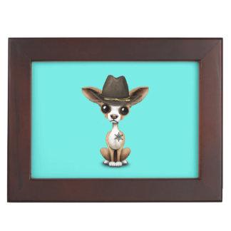 Cute Chihuahua Puppy Sheriff Keepsake Box