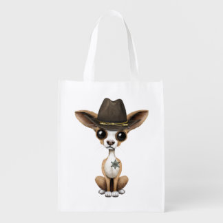 Cute Chihuahua Puppy Sheriff Reusable Grocery Bag