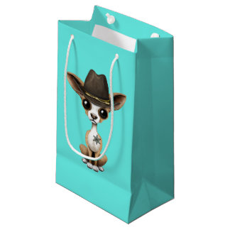 Cute Chihuahua Puppy Sheriff Small Gift Bag
