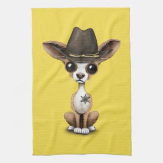 Cute Chihuahua Puppy Sheriff Tea Towel