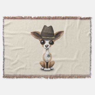 Cute Chihuahua Puppy Sheriff Throw Blanket
