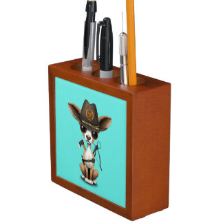 Cute Chihuahua Puppy Zombie Hunter Desk Organiser