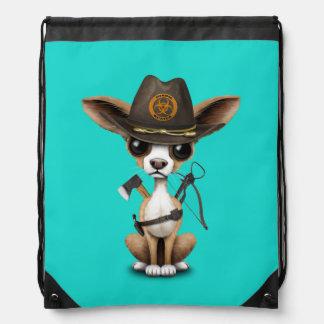 Cute Chihuahua Puppy Zombie Hunter Drawstring Bag