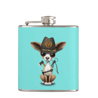 Cute Chihuahua Puppy Zombie Hunter Hip Flask