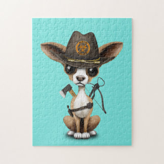 Cute Chihuahua Puppy Zombie Hunter Jigsaw Puzzle
