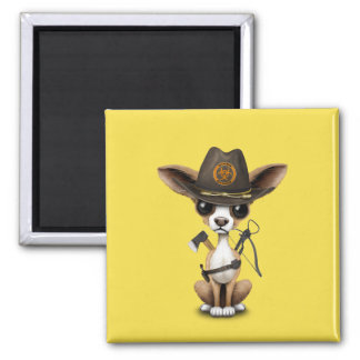 Cute Chihuahua Puppy Zombie Hunter Magnet